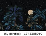 tropical night vintage palm... | Shutterstock .eps vector #1348208060