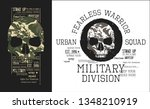 military skulls with camouflage.... | Shutterstock .eps vector #1348210919
