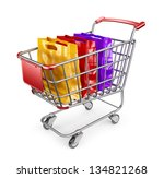 Market cart with shopping bags. 3D Isolated on white background - stock photo