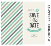 wedding invitation card editable with background chevron, font, type, ribbons and heart vector | Shutterstock vector #134822498