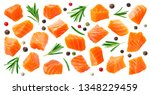 salmon slices isolated on white ... | Shutterstock . vector #1348229459