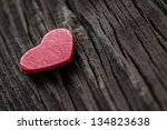heart shape on wood with copy space - stock photo