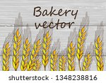 gold spikelets  spica on wooden ...   Shutterstock .eps vector #1348238816