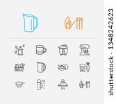 kitchenware icons set. mug and... | Shutterstock .eps vector #1348242623