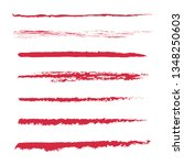 set of hand painted red brush... | Shutterstock .eps vector #1348250603