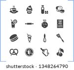 food icon set and flour with...