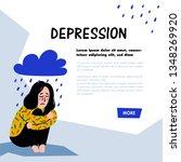 psychology. depression concept. ... | Shutterstock .eps vector #1348269920