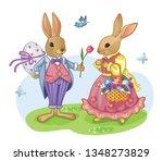cute white rabbit or bunny with ... | Shutterstock .eps vector #1348273829