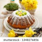 easter yeast cake sprinkled... | Shutterstock . vector #1348276856