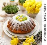 easter yeast cake sprinkled... | Shutterstock . vector #1348276859
