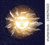 sunrise engraving illustration. ... | Shutterstock .eps vector #1348296323