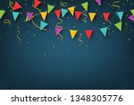 carnival garland with pennants. ... | Shutterstock .eps vector #1348305776