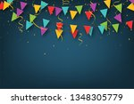 carnival garland with pennants. ... | Shutterstock .eps vector #1348305779