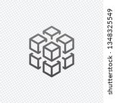 3d cube with eight blocks.  on... | Shutterstock .eps vector #1348325549