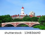 Stock photo john w weeks bridge and clock tower over charles river in harvard university campus in boston with 134836640