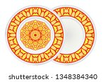set of flower round pattern and ... | Shutterstock .eps vector #1348384340