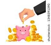 piggy bank. concept of flat... | Shutterstock .eps vector #1348391390