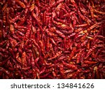 Lot Of Dried Chili As A Food...
