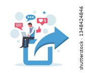 share concept. sharing posts in ... | Shutterstock .eps vector #1348424846
