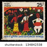 india   circa 1974  a stamp... | Shutterstock . vector #134842538