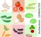vegetables. set of vector icons ... | Shutterstock .eps vector #1348441703