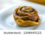 homemade cinnamon buns with... | Shutterstock . vector #1348445123