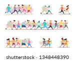 jogging people. runners group... | Shutterstock .eps vector #1348448390