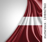 latvia flag of silk with... | Shutterstock . vector #1348467863