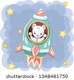 cute bear on rocket vector | Shutterstock .eps vector #1348481750