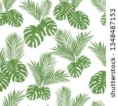 seamless pattern with monstera...   Shutterstock .eps vector #1348487153