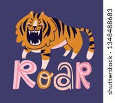 funny wild cat with lettering   ... | Shutterstock .eps vector #1348488683