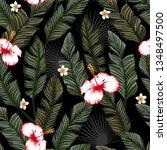 green banana leaves and white... | Shutterstock .eps vector #1348497500