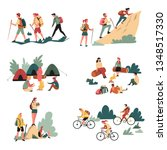 camping and bicycles walking... | Shutterstock .eps vector #1348517330