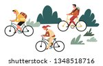 family outdoor activity hiking... | Shutterstock .eps vector #1348518716