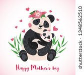 happy mothers day greeting card ... | Shutterstock .eps vector #1348562510
