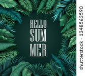 hello summer leaves isolated on ... | Shutterstock .eps vector #1348563590