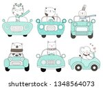 cute baby animal with car... | Shutterstock .eps vector #1348564073