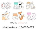 cute baby animal with candy... | Shutterstock .eps vector #1348564079