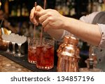 Bartender Is Stirring Cocktail...