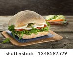 vegetarian club sandwich with... | Shutterstock . vector #1348582529
