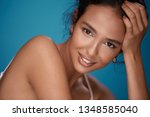 pretty woman with naked... | Shutterstock . vector #1348585040