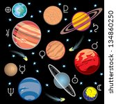 collection of images of planets ... | Shutterstock . vector #134860250