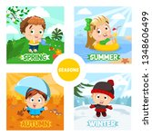 four seasons and kids. spring... | Shutterstock .eps vector #1348606499