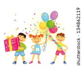 merry friends with balloons ... | Shutterstock . vector #134862119