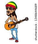 rasta man wearing caps with red ... | Shutterstock .eps vector #1348644689