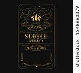vintage golden scotch whiskey... | Shutterstock .eps vector #1348663379