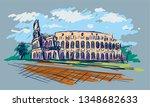 roman coliseum. sight in rome ... | Shutterstock .eps vector #1348682633