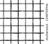 Black and white check, square, plaid, lattice vector repeat seamless vector pattern. Vertical and horizontal chalk, pastel, brush drawn textured crossing stripes, bars. Chequered geometric background.