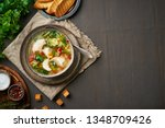 homemade chicken soup with... | Shutterstock . vector #1348709426