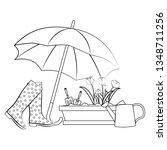 spring flowers under umbrella...   Shutterstock . vector #1348711256
